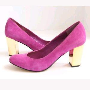 DOLCE VITA Round Toe Gold Heels Purple Suede 6.5